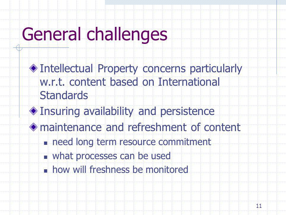 11 General challenges Intellectual Property concerns particularly w.r.t. content based on International Standards Insuring availability and persistenc