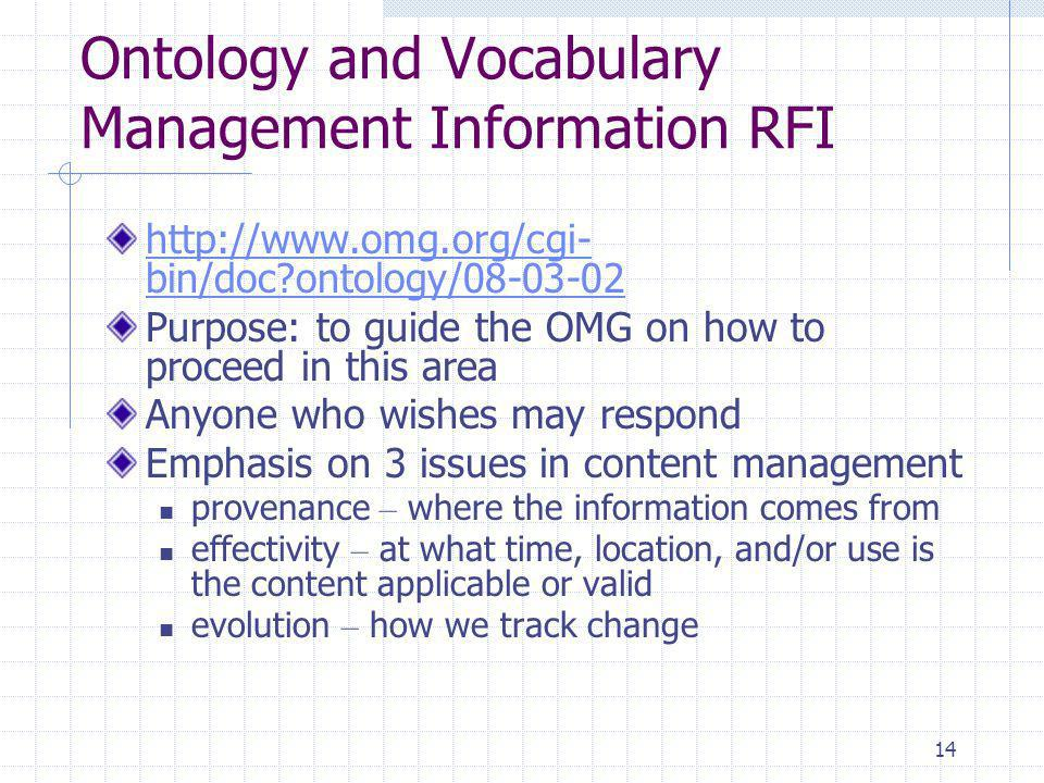 14 Ontology and Vocabulary Management Information RFI   bin/doc ontology/ Purpose: to guide the OMG on how to proceed in this area Anyone who wishes may respond Emphasis on 3 issues in content management provenance – where the information comes from effectivity – at what time, location, and/or use is the content applicable or valid evolution – how we track change