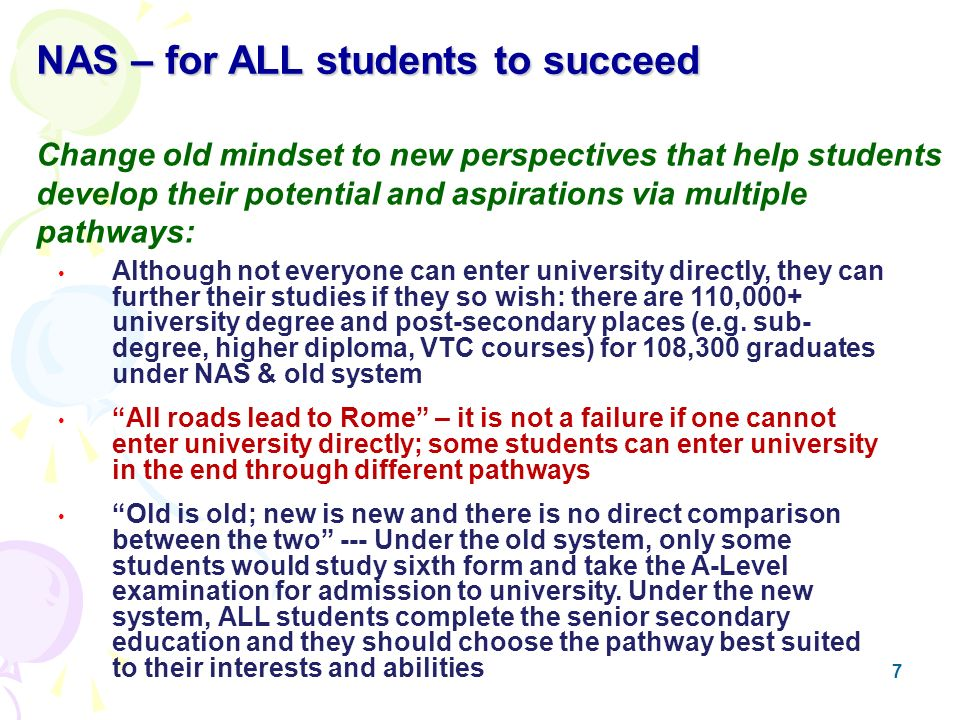 7 Although not everyone can enter university directly, they can further their studies if they so wish: there are 110,000+ university degree and post-secondary places (e.g.
