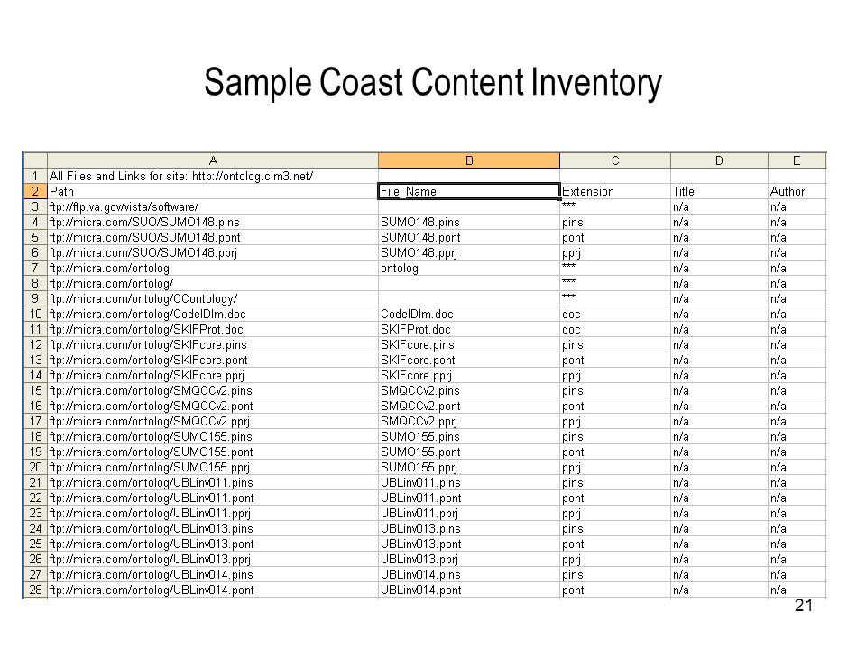 21 Sample Coast Content Inventory