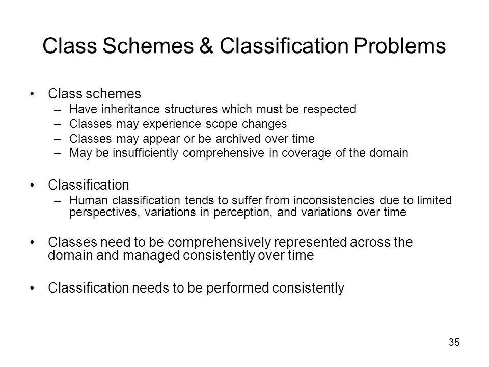 35 Class Schemes & Classification Problems Class schemes –Have inheritance structures which must be respected –Classes may experience scope changes –C