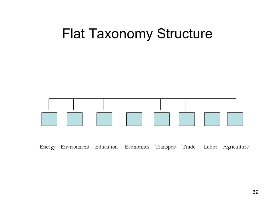 39 Flat Taxonomy Structure Energy Environment Education Economics Transport Trade Labor Agriculture