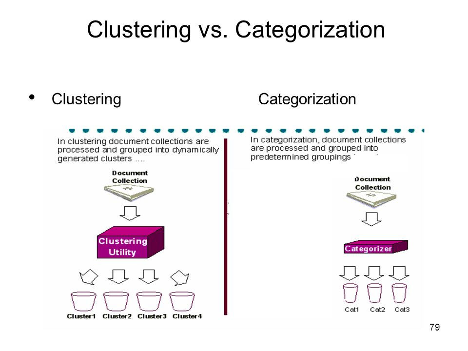 79 Clustering vs. Categorization Clustering Categorization