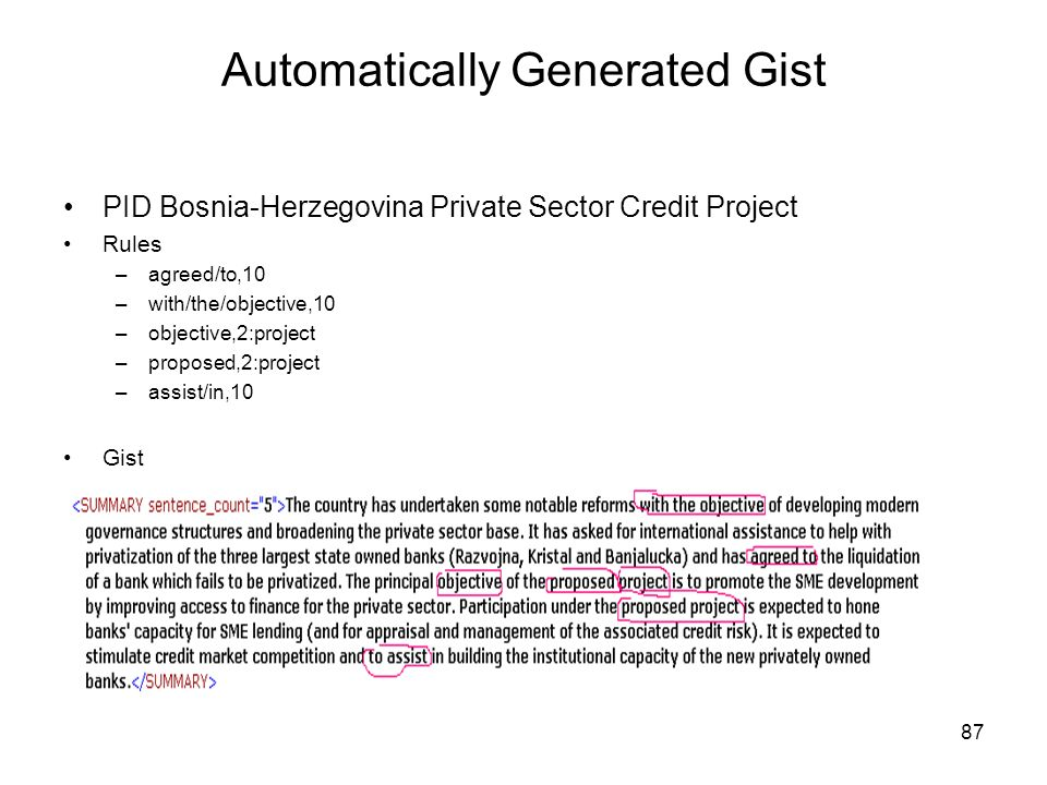 87 Automatically Generated Gist PID Bosnia-Herzegovina Private Sector Credit Project Rules –agreed/to,10 –with/the/objective,10 –objective,2:project –