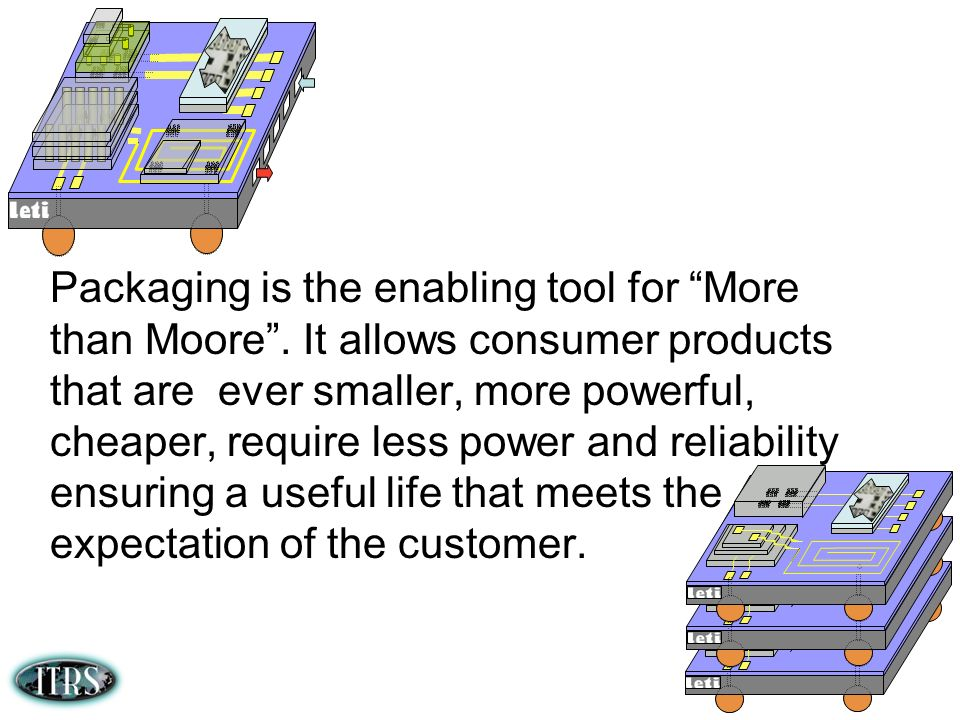 Packaging is the enabling tool for More than Moore. It allows consumer products that are ever smaller, more powerful, cheaper, require less power and