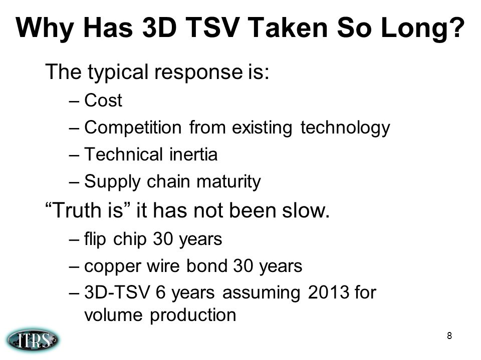 Why Has 3D TSV Taken So Long? The typical response is: –Cost –Competition from existing technology –Technical inertia –Supply chain maturity Truth is