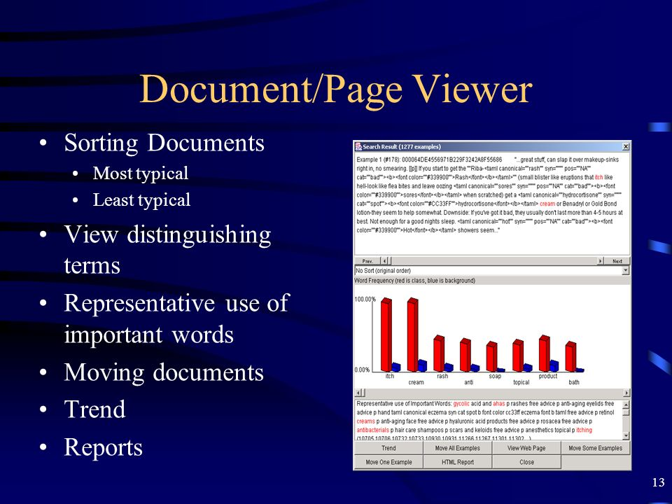 13 Document/Page Viewer Sorting Documents Most typical Least typical View distinguishing terms Representative use of important words Moving documents