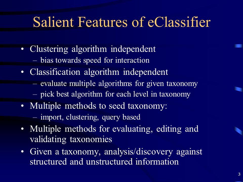 3 Salient Features of eClassifier Clustering algorithm independent –bias towards speed for interaction Classification algorithm independent –evaluate