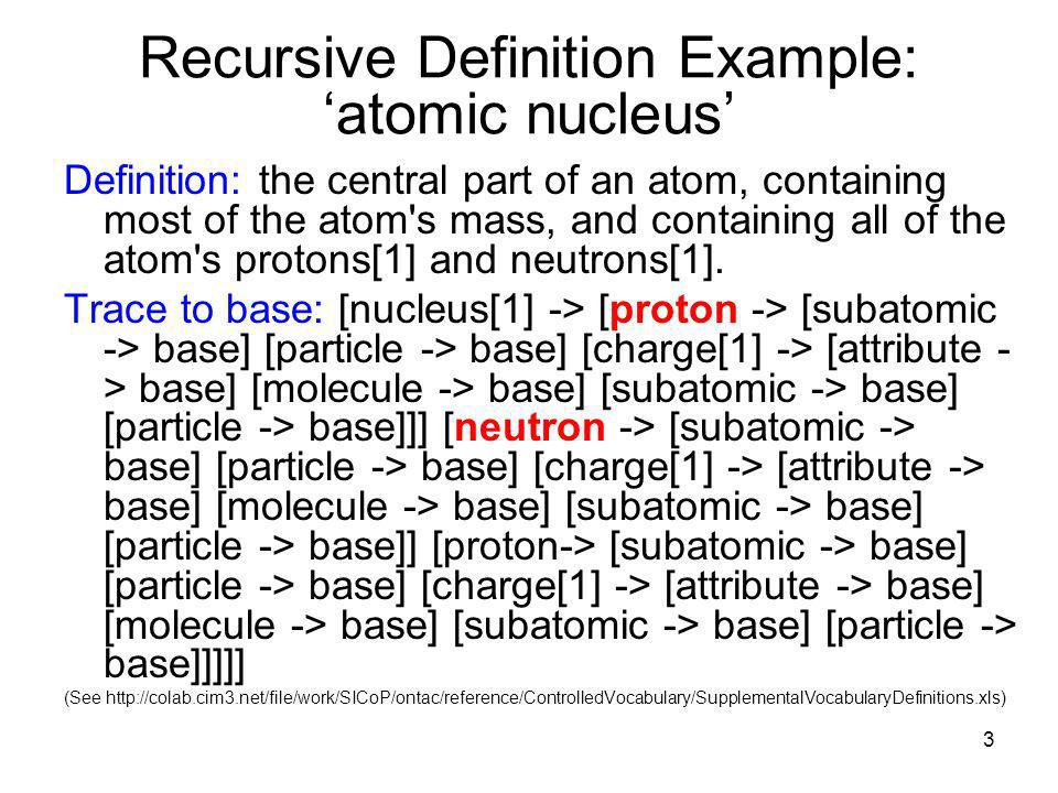 3 Recursive Definition Example: atomic nucleus Definition: the central part of an atom, containing most of the atom s mass, and containing all of the atom s protons[1] and neutrons[1].