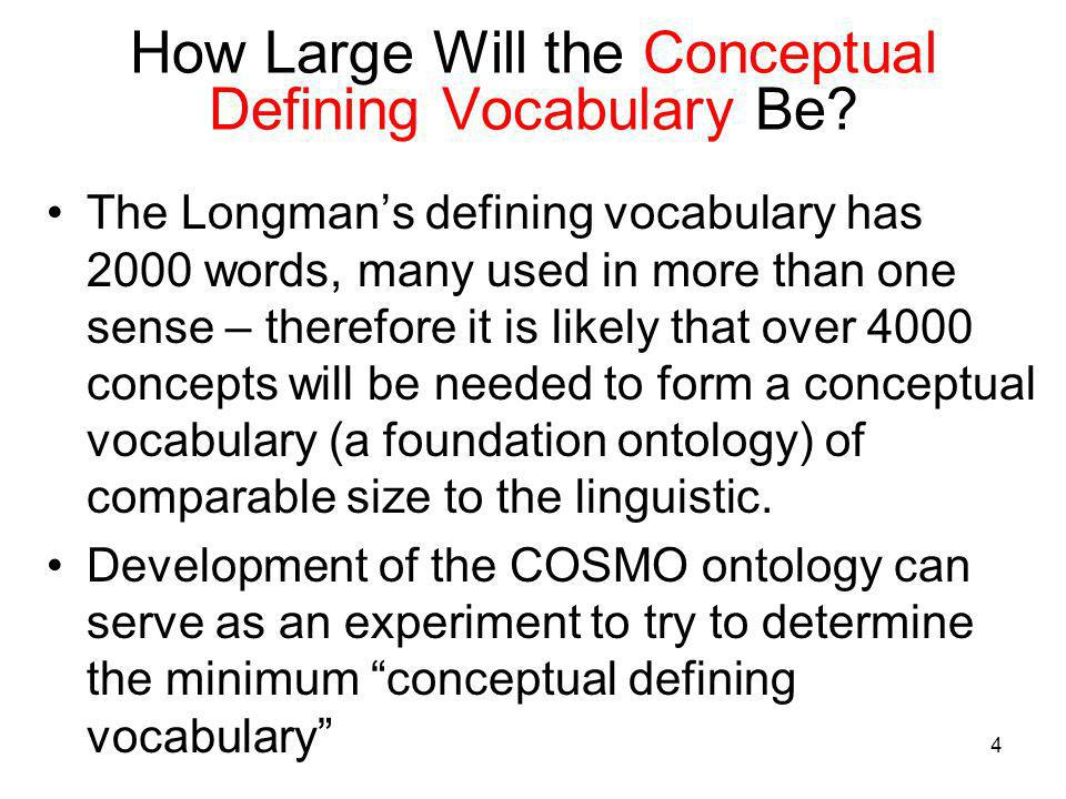 4 How Large Will the Conceptual Defining Vocabulary Be? The Longmans defining vocabulary has 2000 words, many used in more than one sense – therefore