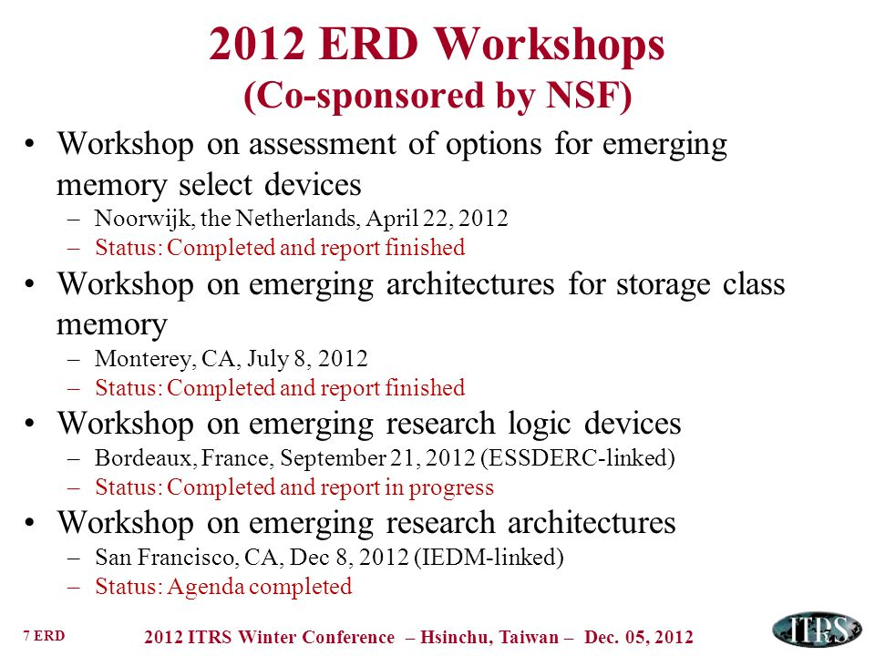 7 ERD 2012 ITRS Winter Conference – Hsinchu, Taiwan – Dec. 05, 2012 7 2012 ERD Workshops (Co-sponsored by NSF) Workshop on assessment of options for e