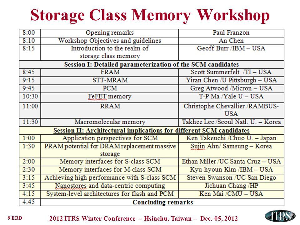 9 ERD 2012 ITRS Winter Conference – Hsinchu, Taiwan – Dec. 05, 2012 Storage Class Memory Workshop 9