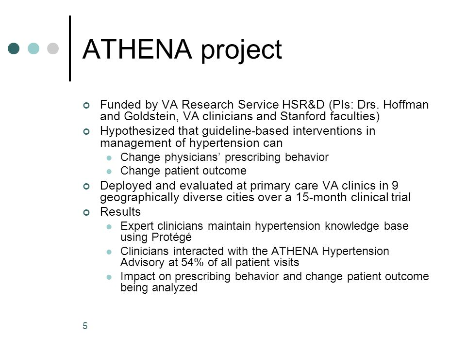 5 ATHENA project Funded by VA Research Service HSR&D (PIs: Drs. Hoffman and Goldstein, VA clinicians and Stanford faculties) Hypothesized that guideli