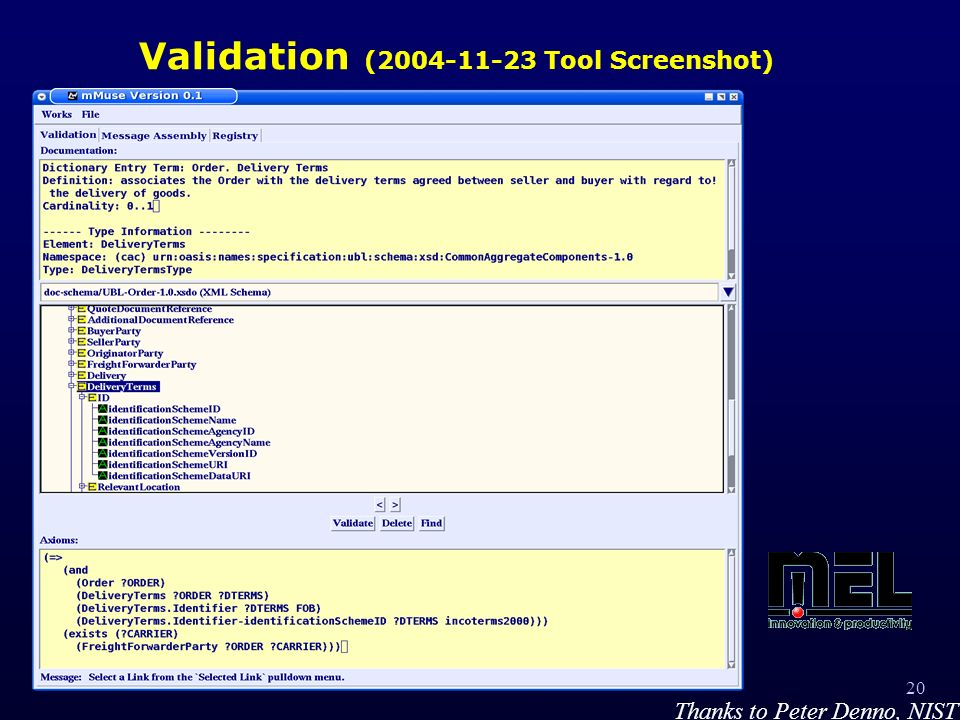 20 Validation ( Tool Screenshot) Thanks to Peter Denno, NIST