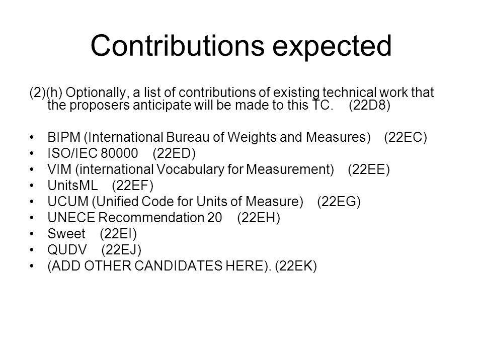Contributions expected (2)(h) Optionally, a list of contributions of existing technical work that the proposers anticipate will be made to this TC.