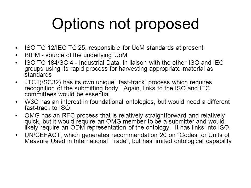 Options not proposed ISO TC 12/IEC TC 25, responsible for UoM standards at present BIPM - source of the underlying UoM ISO TC 184/SC 4 - Industrial Data, in liaison with the other ISO and IEC groups using its rapid process for harvesting appropriate material as standards JTC1(/SC32) has its own unique fast-track process which requires recognition of the submitting body.