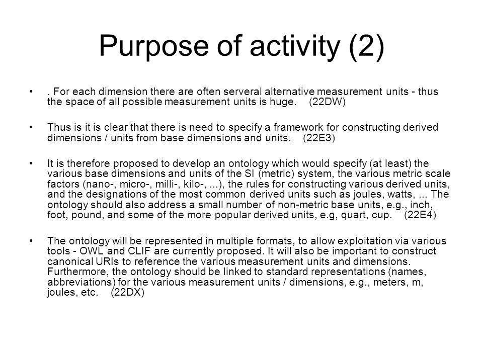 Purpose of activity (2).
