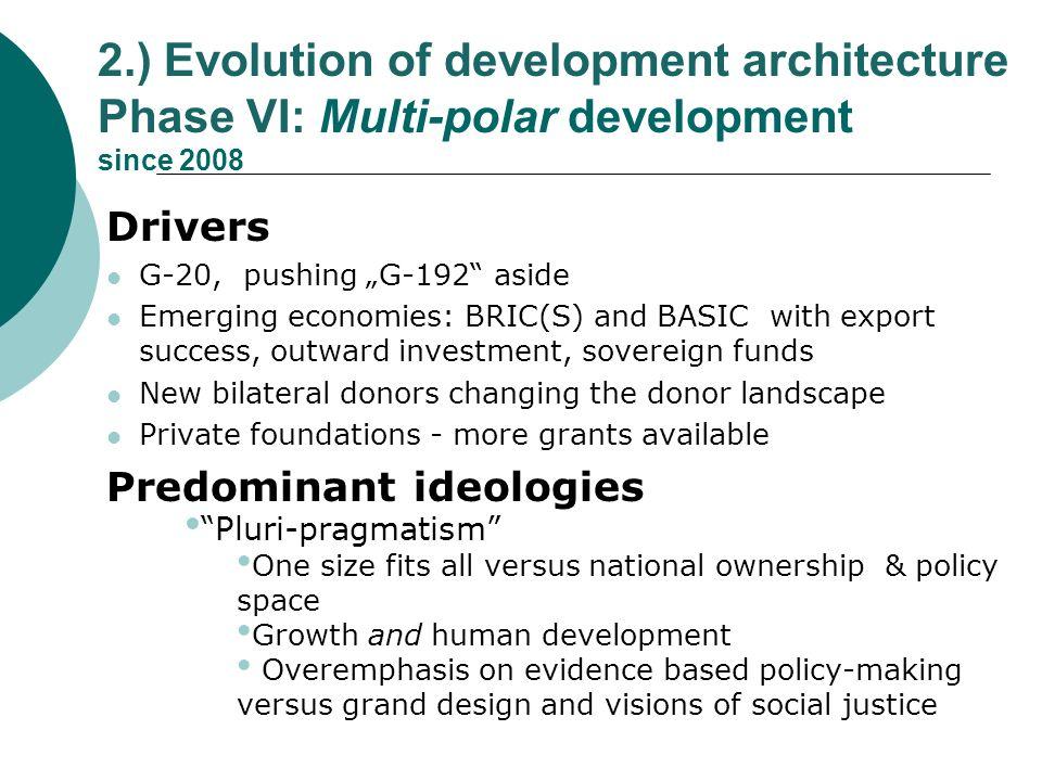 2.) Evolution of development architecture Phase VI: Multi-polar development since 2008 Drivers G-20, pushing G-192 aside Emerging economies: BRIC(S) a