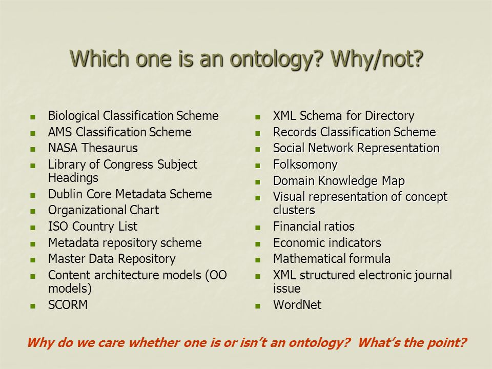 Which one is an ontology? Why/not? Biological Classification Scheme AMS Classification Scheme NASA Thesaurus Library of Congress Subject Headings Dubl