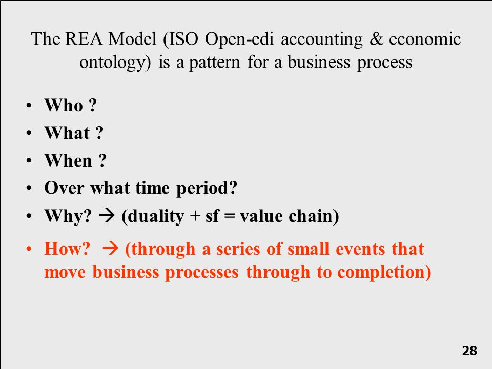 Who ? What ? When ? Over what time period? The REA Model (ISO Open-edi accounting & economic ontology) is a pattern for a business process How? (throu