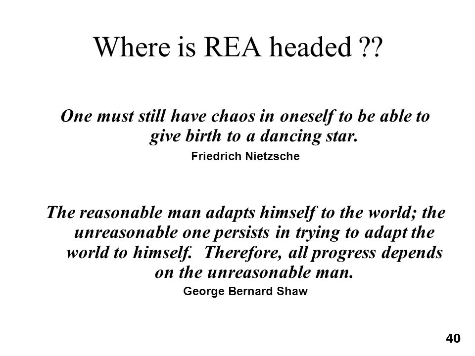 Where is REA headed .