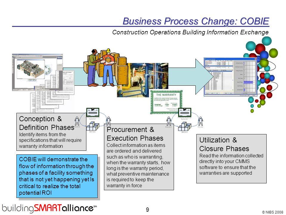 © NIBS 2008 9 Business Process Change: COBIE Business Process Change: COBIE Construction Operations Building Information Exchange Conception & Definit