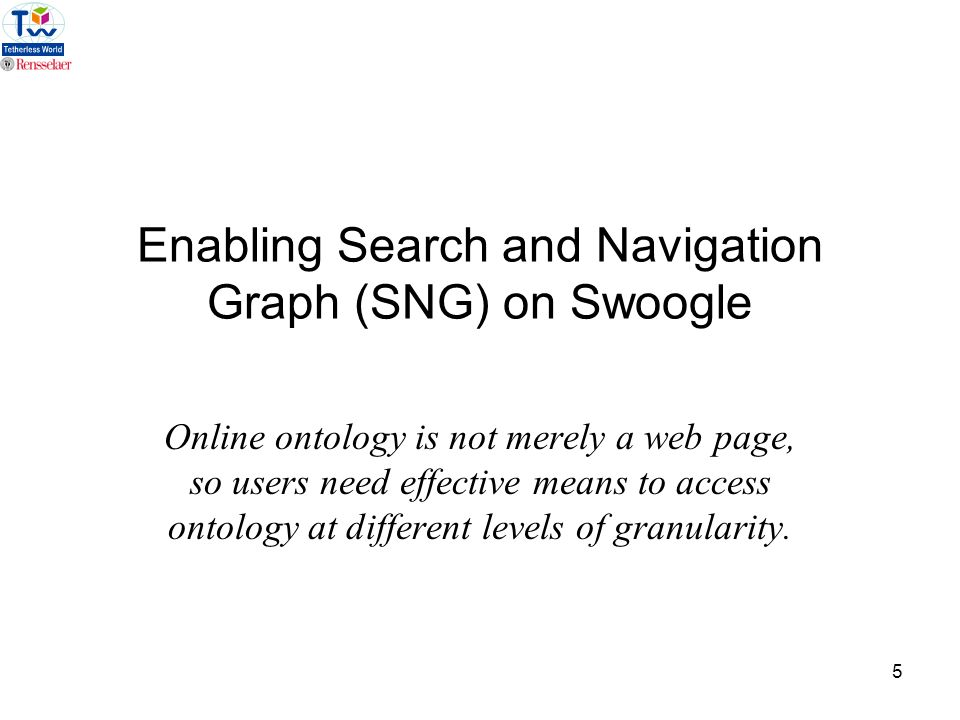 5 Enabling Search and Navigation Graph (SNG) on Swoogle Online ontology is not merely a web page, so users need effective means to access ontology at