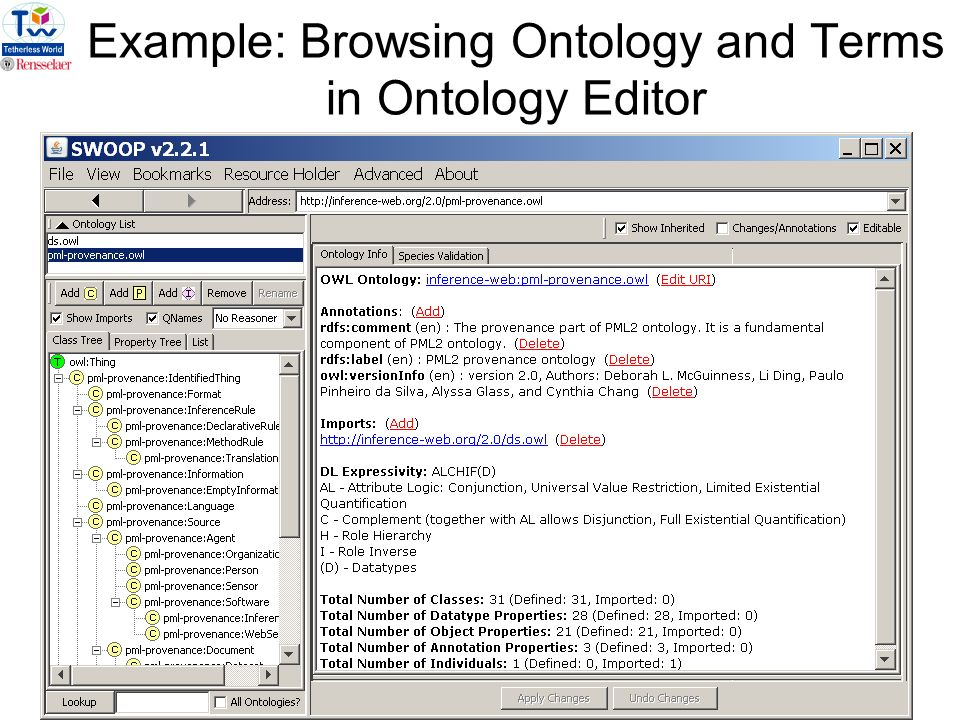 7 Example: Browsing Ontology and Terms in Ontology Editor