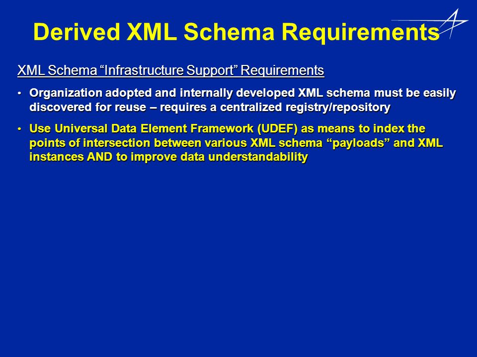 Derived XML Schema Requirements XML Schema Infrastructure Support Requirements Organization adopted and internally developed XML schema must be easily discovered for reuse – requires a centralized registry/repository Organization adopted and internally developed XML schema must be easily discovered for reuse – requires a centralized registry/repository Use Universal Data Element Framework (UDEF) as means to index the points of intersection between various XML schema payloads and XML instances AND to improve data understandability Use Universal Data Element Framework (UDEF) as means to index the points of intersection between various XML schema payloads and XML instances AND to improve data understandability