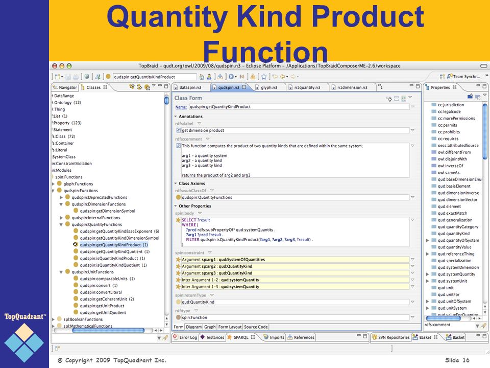 © Copyright 2009 TopQuadrant Inc. Slide 16 Quantity Kind Product Function