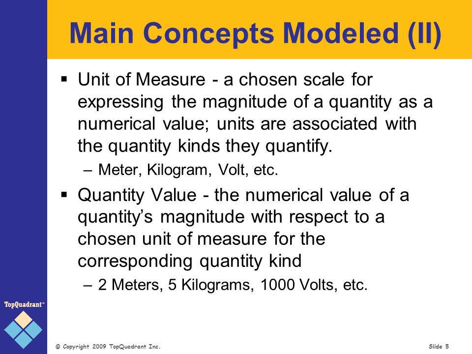 © Copyright 2009 TopQuadrant Inc. Slide 16 Quantity Kind Product Function