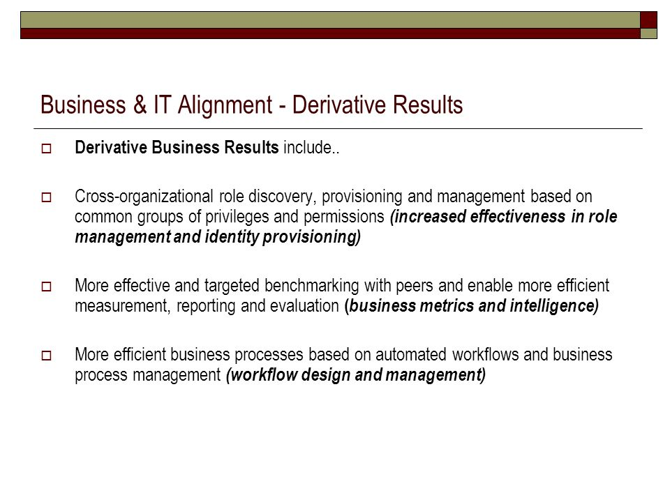 Business & IT Alignment - Derivative Results Derivative Business Results include.. Cross-organizational role discovery, provisioning and management ba