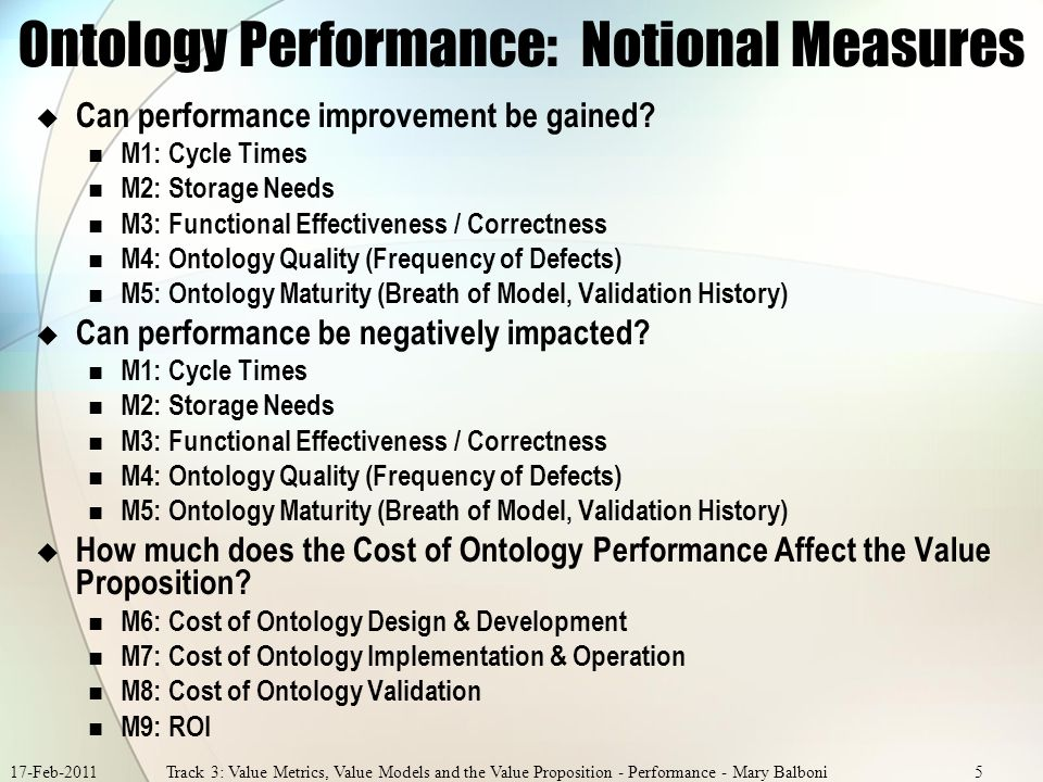 17-Feb-2011Track 3: Value Metrics, Value Models and the Value Proposition - Performance - Mary Balboni5 Ontology Performance: Notional Measures Can performance improvement be gained.