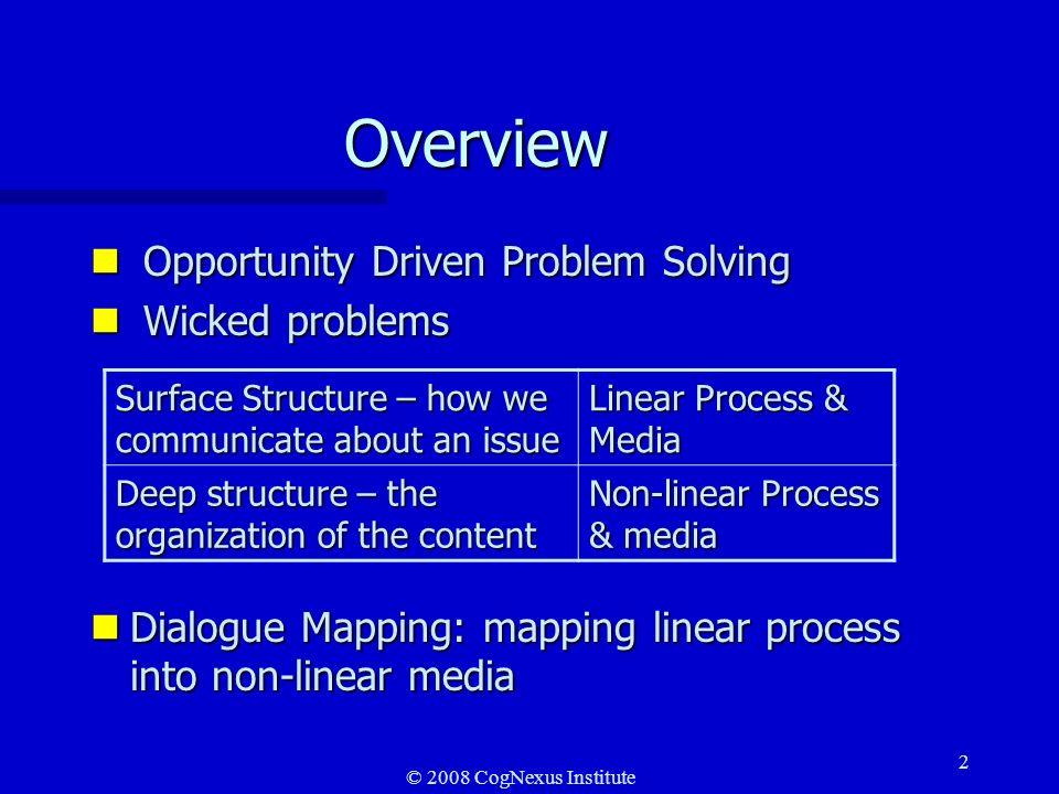 © 2008 CogNexus Institute 13 Conversational structure Issue-based structure