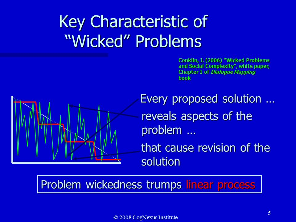 © 2008 CogNexus Institute 6 Characteristics of problem wickedness ncannot be easily defined so that all stakeholders agree on the problem to solve; nrequire complex judgments about the level of abstraction at which to define the problem; nhave no clear stopping rules; nhave better or worse solutions, not right and wrong ones; nhave no objective measure of success; nrequire iteration-every trial counts; nhave no given alternative solutions-these must be discovered; noften have strong moral, political or professional dimensions.