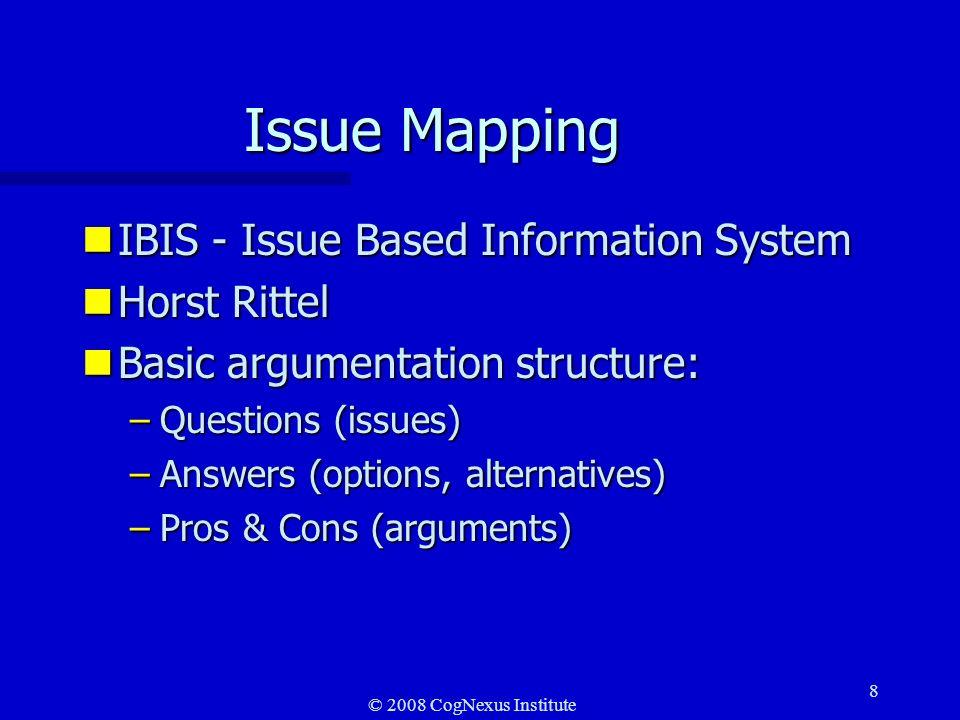 © 2008 CogNexus Institute 19 Conversational structure Issue-based structure