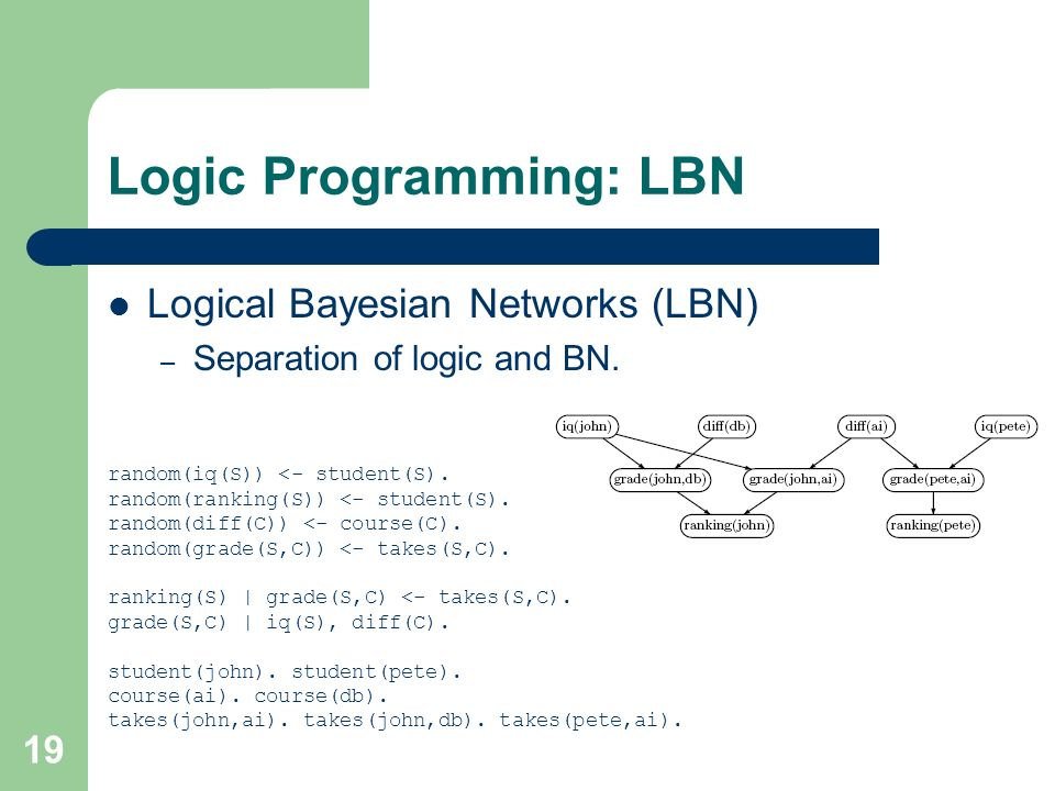 19 Logic Programming: LBN Logical Bayesian Networks (LBN) – Separation of logic and BN.