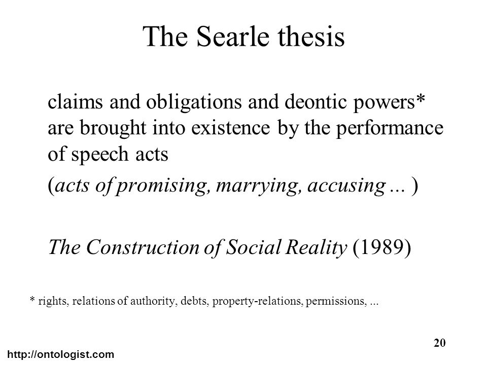 http://ontologist.com 20 The Searle thesis claims and obligations and deontic powers* are brought into existence by the performance of speech acts (ac