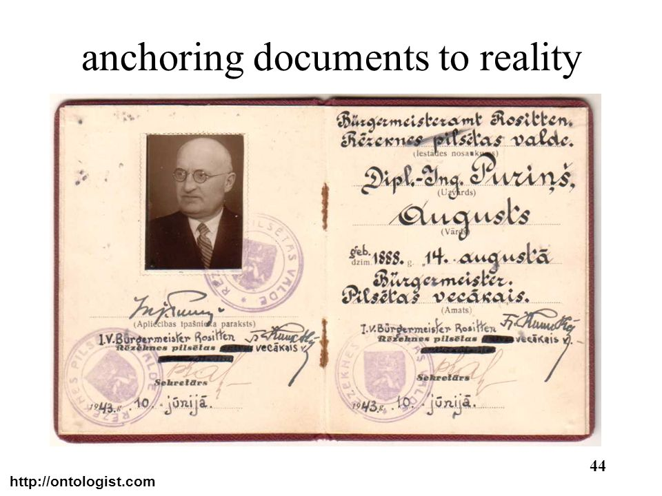 http://ontologist.com 44 anchoring documents to reality