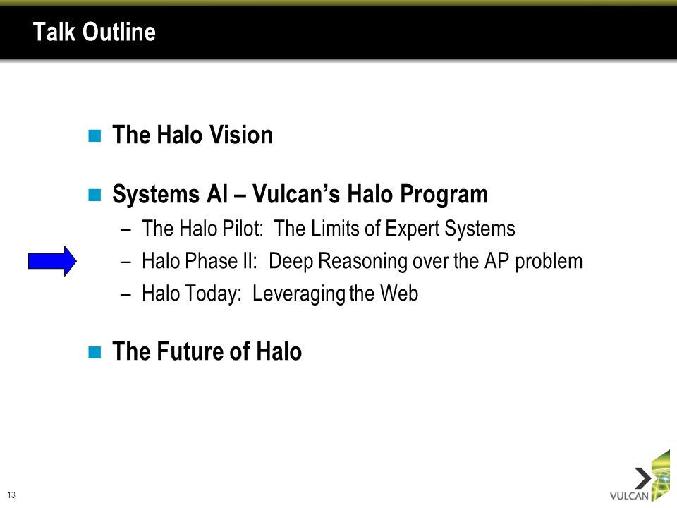 13 Talk Outline The Halo Vision Systems AI – Vulcans Halo Program –The Halo Pilot: The Limits of Expert Systems –Halo Phase II: Deep Reasoning over th
