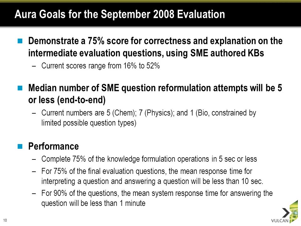 18 Aura Goals for the September 2008 Evaluation Demonstrate a 75% score for correctness and explanation on the intermediate evaluation questions, usin