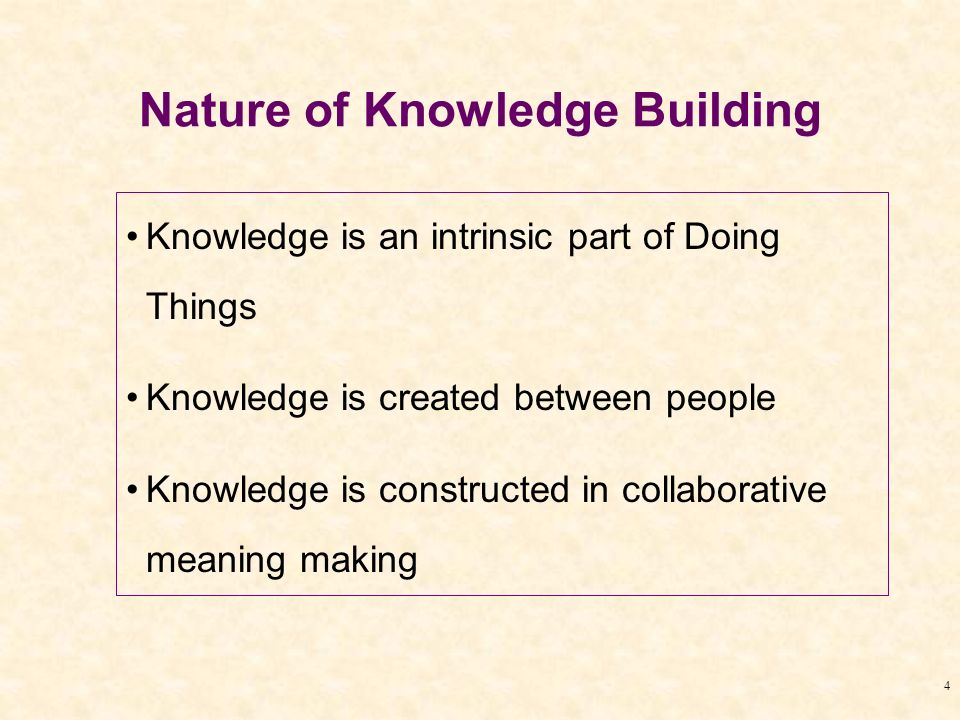 4 Nature of Knowledge Building Knowledge is an intrinsic part of Doing Things Knowledge is created between people Knowledge is constructed in collabor