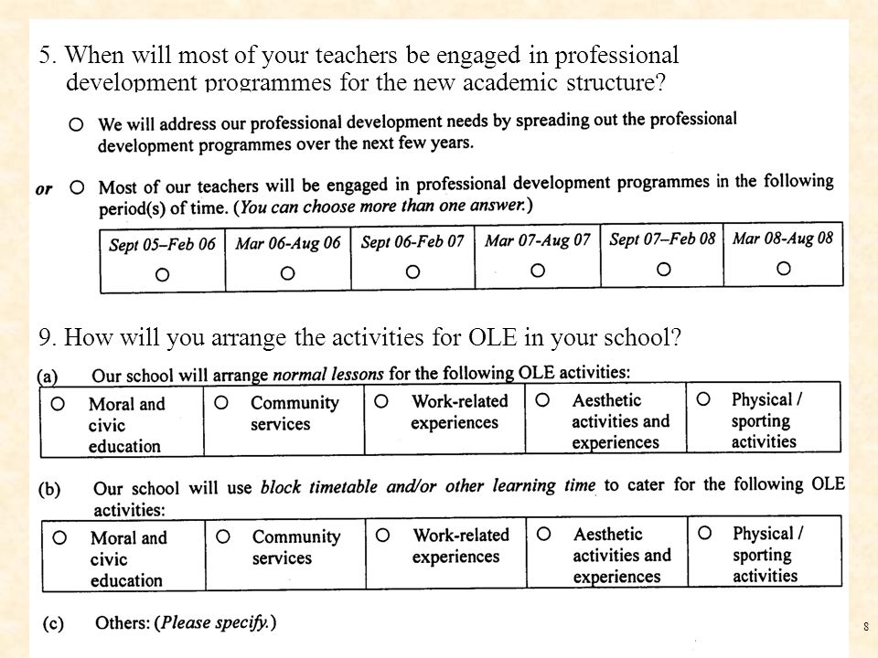 8 5. When will most of your teachers be engaged in professional development programmes for the new academic structure? 9. How will you arrange the act