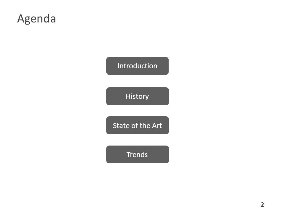 Agenda History State of the Art Trends Introduction 2