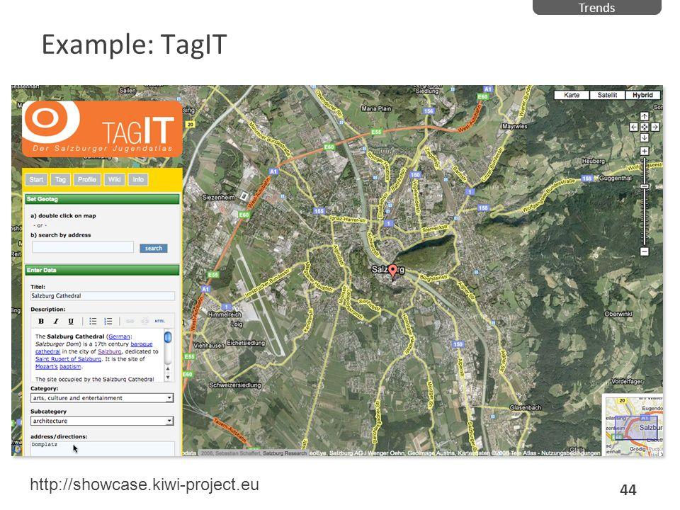 Example: TagIT Trends 44 http://showcase.kiwi-project.eu