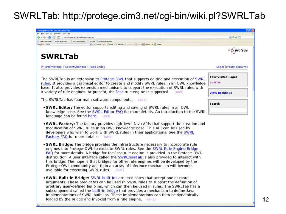 12 SWRLTab: http://protege.cim3.net/cgi-bin/wiki.pl?SWRLTab