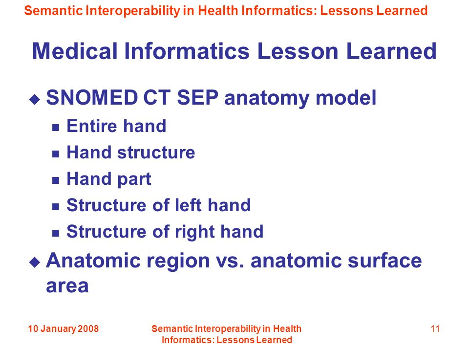 Semantic Interoperability in Health Informatics: Lessons Learned 10 January 2008Semantic Interoperability in Health Informatics: Lessons Learned 11 Medical Informatics Lesson Learned SNOMED CT SEP anatomy model Entire hand Hand structure Hand part Structure of left hand Structure of right hand Anatomic region vs.