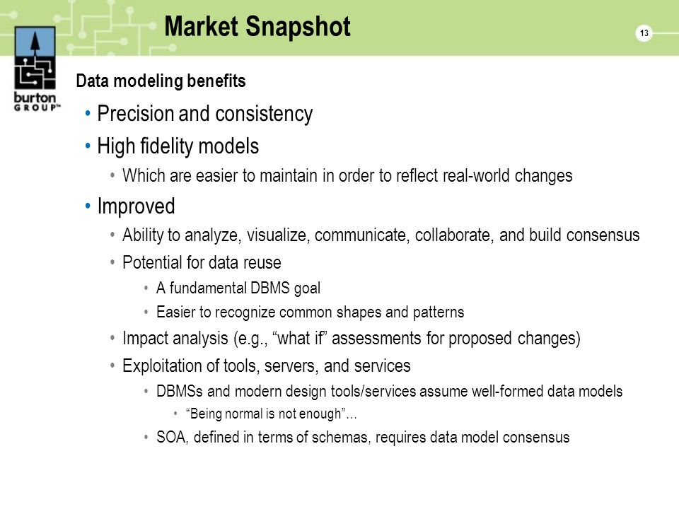 13 Market Snapshot Data modeling benefits Precision and consistency High fidelity models Which are easier to maintain in order to reflect real-world changes Improved Ability to analyze, visualize, communicate, collaborate, and build consensus Potential for data reuse A fundamental DBMS goal Easier to recognize common shapes and patterns Impact analysis (e.g., what if assessments for proposed changes) Exploitation of tools, servers, and services DBMSs and modern design tools/services assume well-formed data models Being normal is not enough… SOA, defined in terms of schemas, requires data model consensus