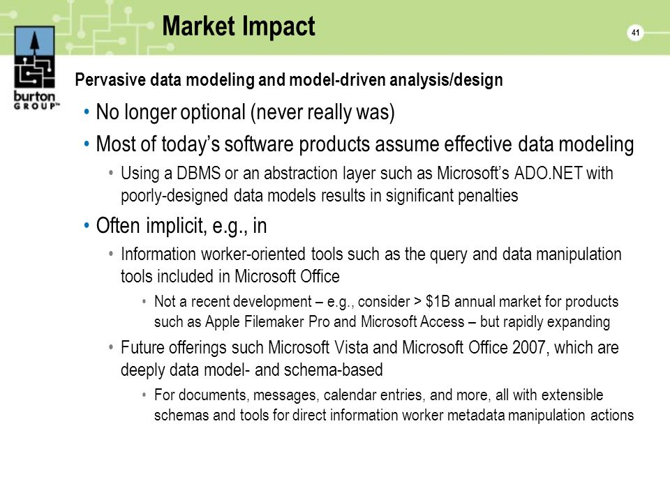 41 Market Impact Pervasive data modeling and model-driven analysis/design No longer optional (never really was) Most of todays software products assume effective data modeling Using a DBMS or an abstraction layer such as Microsofts ADO.NET with poorly-designed data models results in significant penalties Often implicit, e.g., in Information worker-oriented tools such as the query and data manipulation tools included in Microsoft Office Not a recent development – e.g., consider > $1B annual market for products such as Apple Filemaker Pro and Microsoft Access – but rapidly expanding Future offerings such Microsoft Vista and Microsoft Office 2007, which are deeply data model- and schema-based For documents, messages, calendar entries, and more, all with extensible schemas and tools for direct information worker metadata manipulation actions