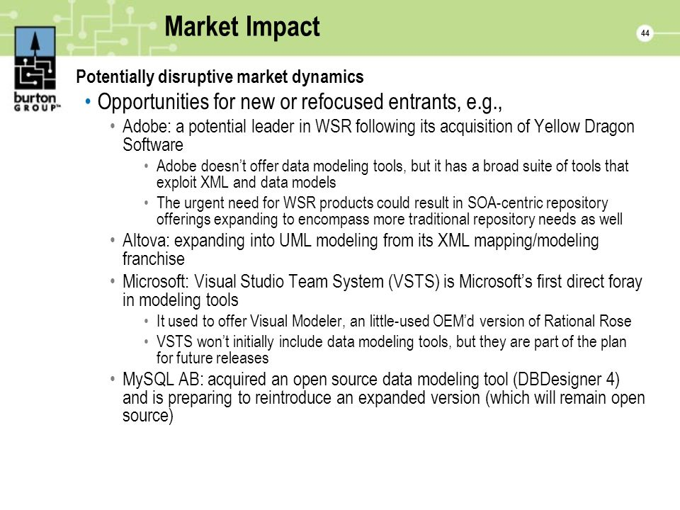 44 Market Impact Potentially disruptive market dynamics Opportunities for new or refocused entrants, e.g., Adobe: a potential leader in WSR following its acquisition of Yellow Dragon Software Adobe doesnt offer data modeling tools, but it has a broad suite of tools that exploit XML and data models The urgent need for WSR products could result in SOA-centric repository offerings expanding to encompass more traditional repository needs as well Altova: expanding into UML modeling from its XML mapping/modeling franchise Microsoft: Visual Studio Team System (VSTS) is Microsofts first direct foray in modeling tools It used to offer Visual Modeler, an little-used OEMd version of Rational Rose VSTS wont initially include data modeling tools, but they are part of the plan for future releases MySQL AB: acquired an open source data modeling tool (DBDesigner 4) and is preparing to reintroduce an expanded version (which will remain open source)